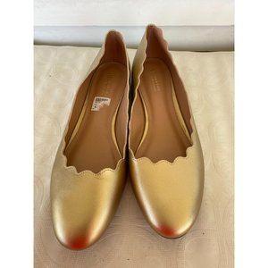 Martha Everyday sz12 gold scallop flat dress shoes